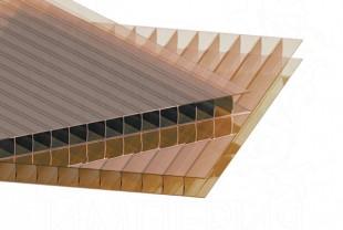 Сотовый поликарбонат IRROX толщина 8 мм, бронза йод